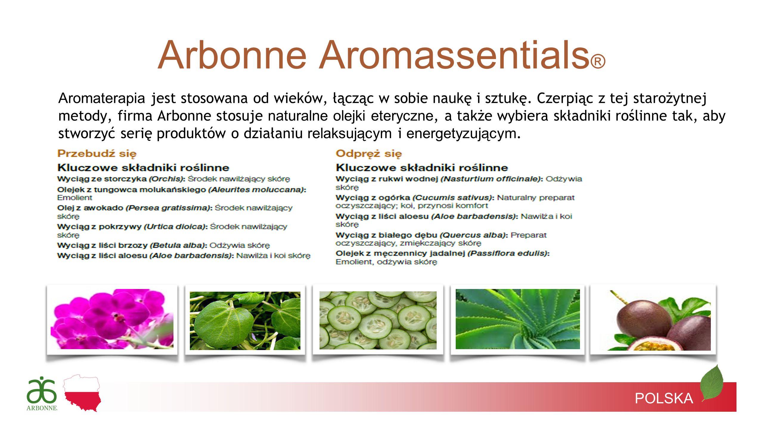 POLSKA Aromaterapia jest stosowana od wieków, łącząc w sobie naukę i sztukę. Czerpiąc z tej starożytnej metody, firma Arbonne stosuje naturalne olejki