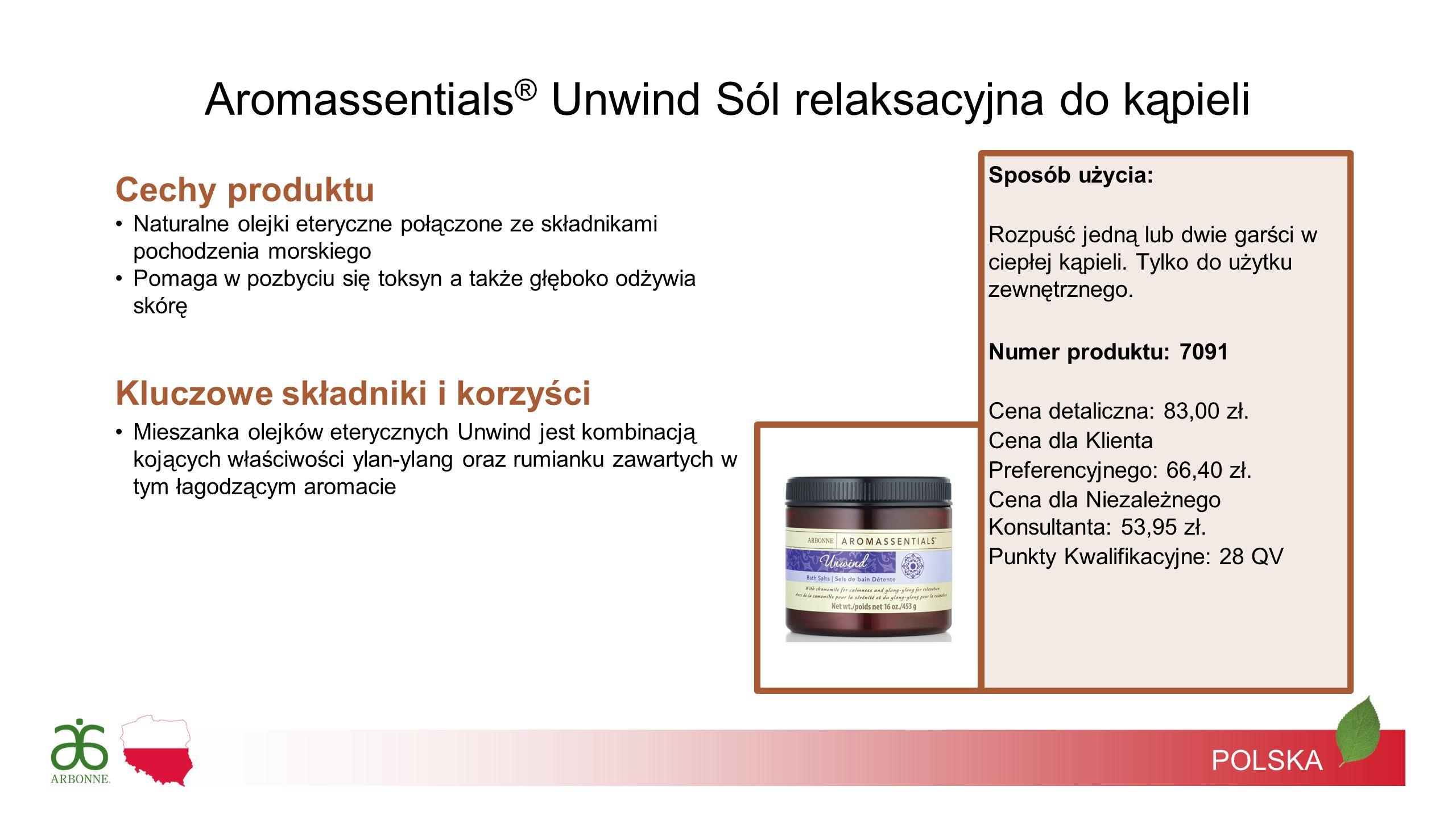 POLSKA Cechy produktu Naturalne olejki eteryczne połączone ze składnikami pochodzenia morskiego Pomaga w pozbyciu się toksyn a także głęboko odżywia s