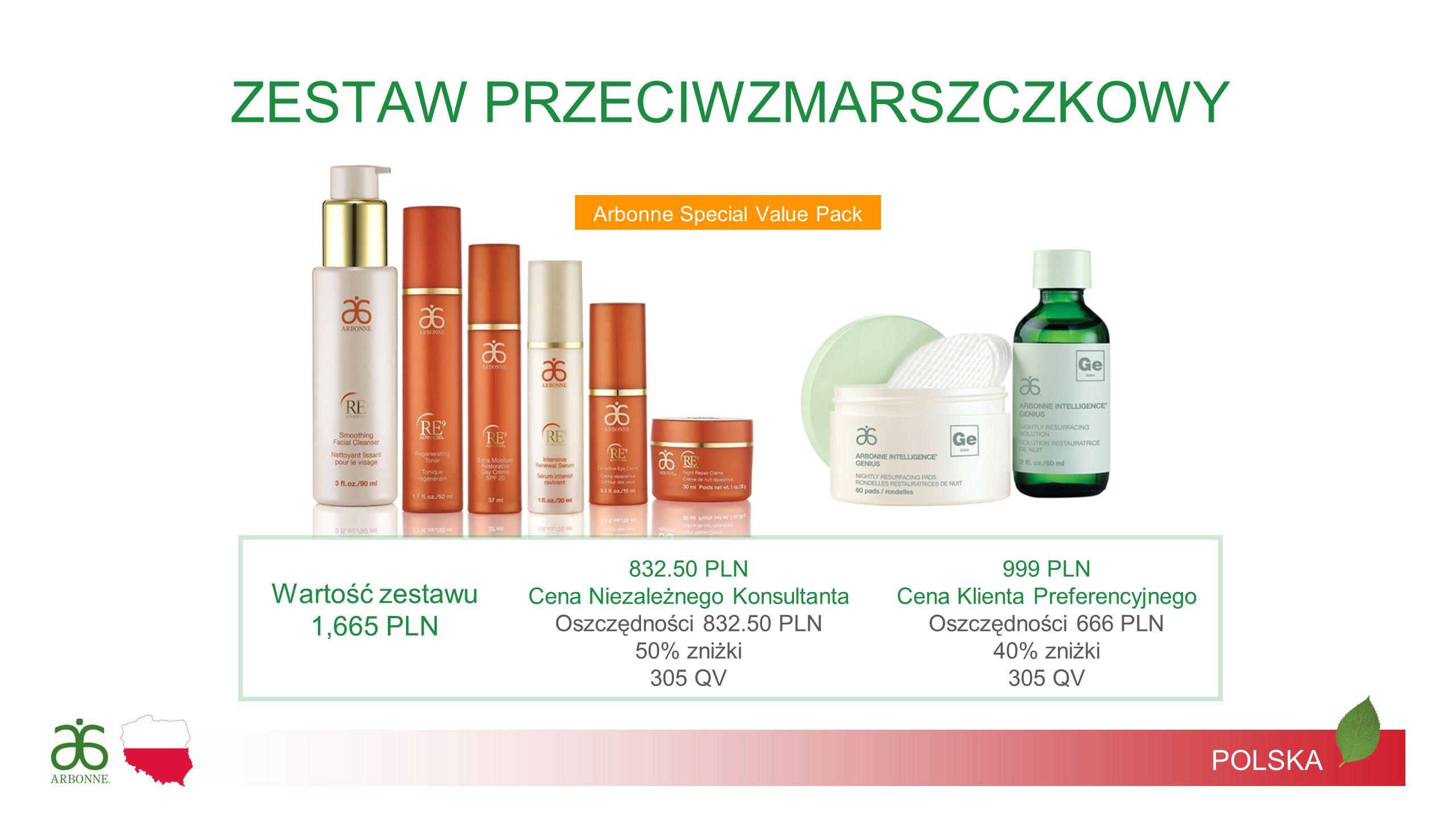 Arbonne Special Value Pack POLSKA ZESTAW PRZECIWZMARSZCZKOWY Wartość zestawu 1,665 PLN 832.50 PLN Cena Niezależnego Konsultanta Oszczędności 832.50 PL