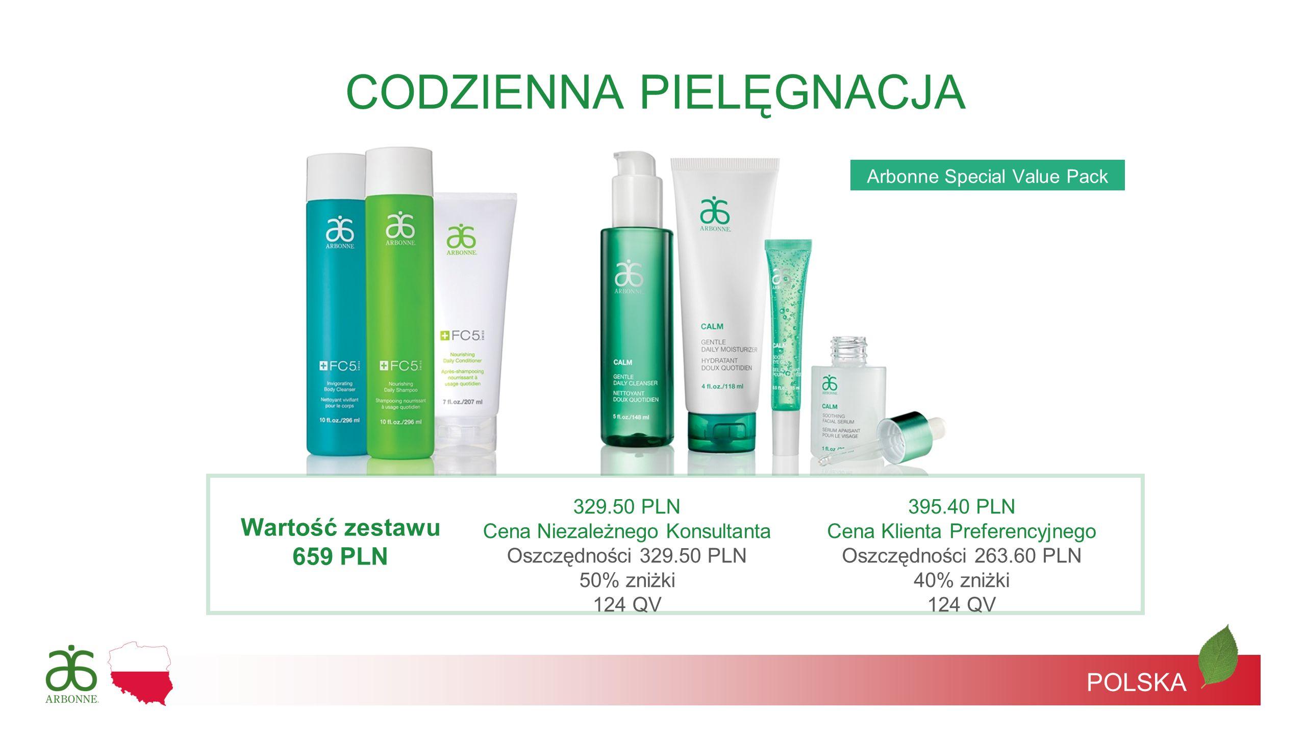 Arbonne Special Value Pack POLSKA CODZIENNA PIELĘGNACJA Wartość zestawu 659 PLN 329.50 PLN Cena Niezależnego Konsultanta Oszczędności 329.50 PLN 50% z