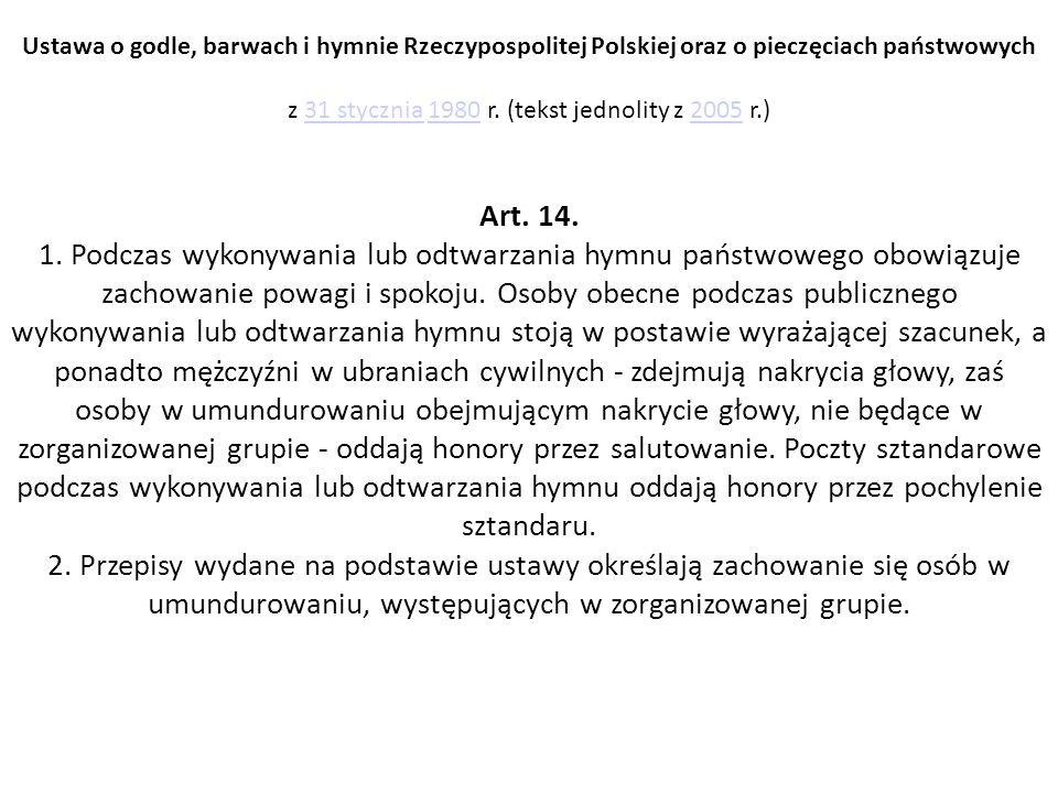 Ustawa o godle, barwach i hymnie Rzeczypospolitej Polskiej oraz o pieczęciach państwowych z 31 stycznia 1980 r.