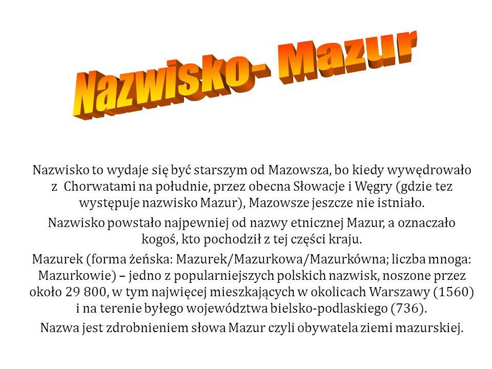 Nazwisko to wydaje się być starszym od Mazowsza, bo kiedy wywędrowało z Chorwatami na południe, przez obecna Słowacje i Węgry (gdzie tez występuje nazwisko Mazur), Mazowsze jeszcze nie istniało.