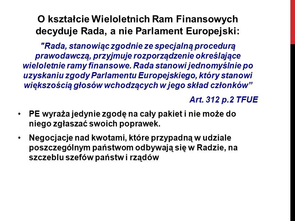O kształcie Wieloletnich Ram Finansowych decyduje Rada, a nie Parlament Europejski: Rada, stanowia ̨ c zgodnie ze specjalna ̨ procedura ̨ prawodawcza ̨, przyjmuje rozporza ̨ dzenie określaja ̨ ce wieloletnie ramy finansowe.