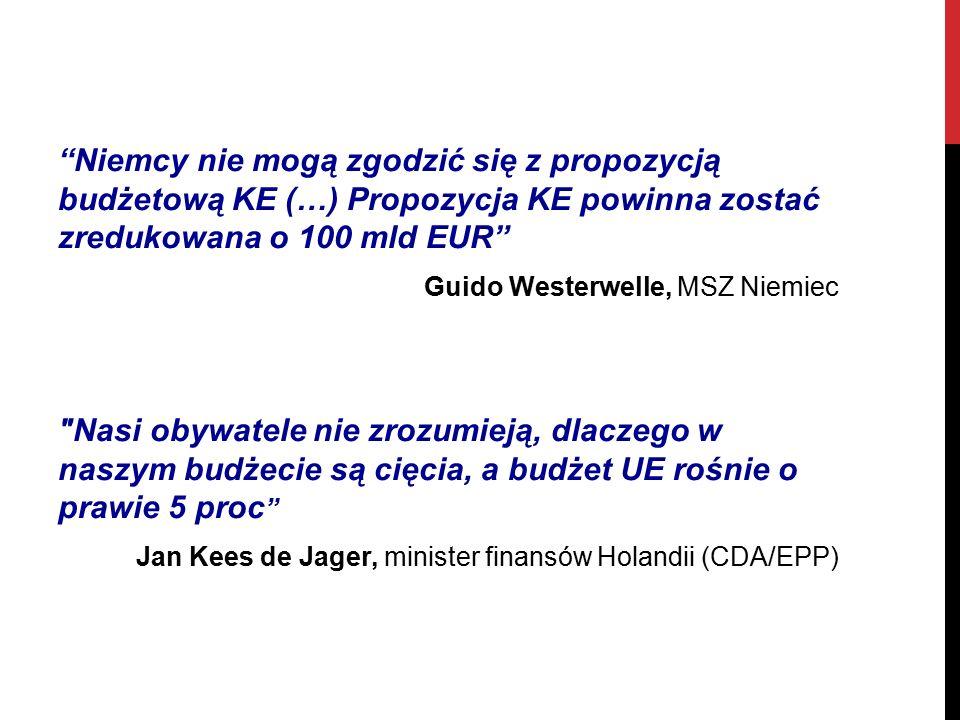 Niemcy nie mogą zgodzić się z propozycją budżetową KE (…) Propozycja KE powinna zostać zredukowana o 100 mld EUR Guido Westerwelle, MSZ Niemiec Nasi obywatele nie zrozumieją, dlaczego w naszym budżecie są cięcia, a budżet UE rośnie o prawie 5 proc Jan Kees de Jager, minister finansów Holandii (CDA/EPP)