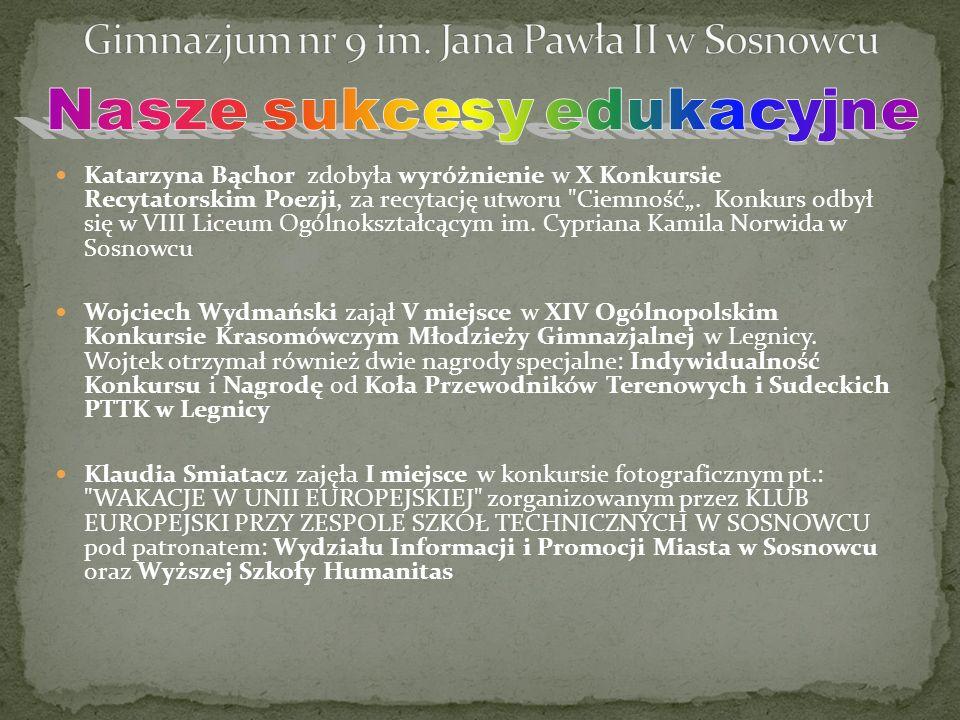 """Katarzyna Bąchor zdobyła wyróżnienie w X Konkursie Recytatorskim Poezji, za recytację utworu Ciemność""""."""
