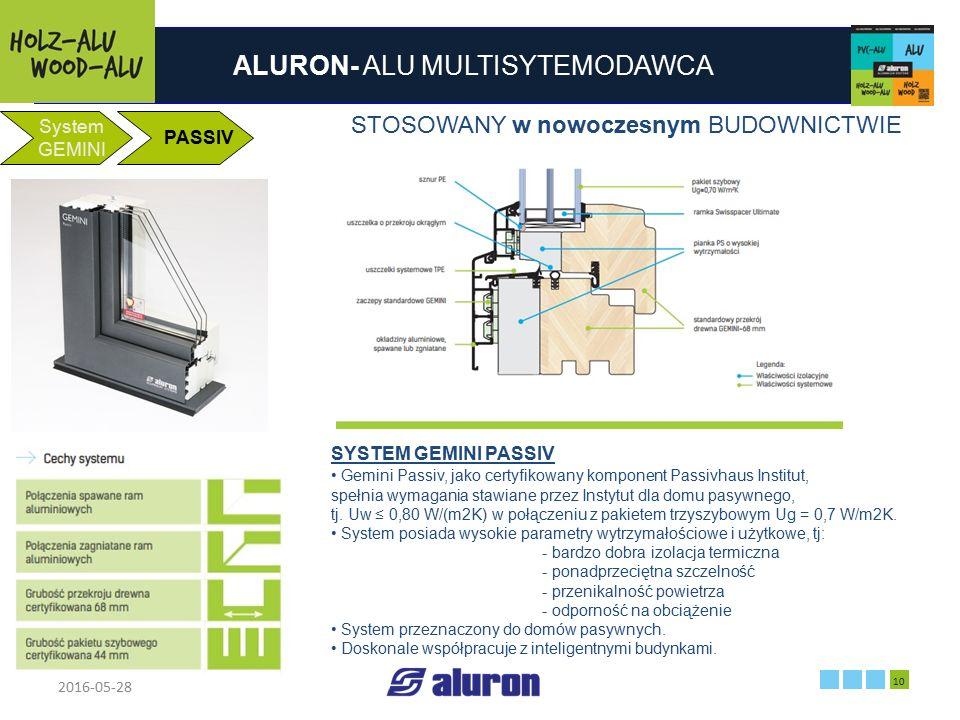 ALURON- ALU MULTISYTEMODAWCA 2016-05-28 10 Zakład produkcyjny w Zawierciu Francja System GEMINI PASSIV SYSTEM GEMINI PASSIV Gemini Passiv, jako certyf
