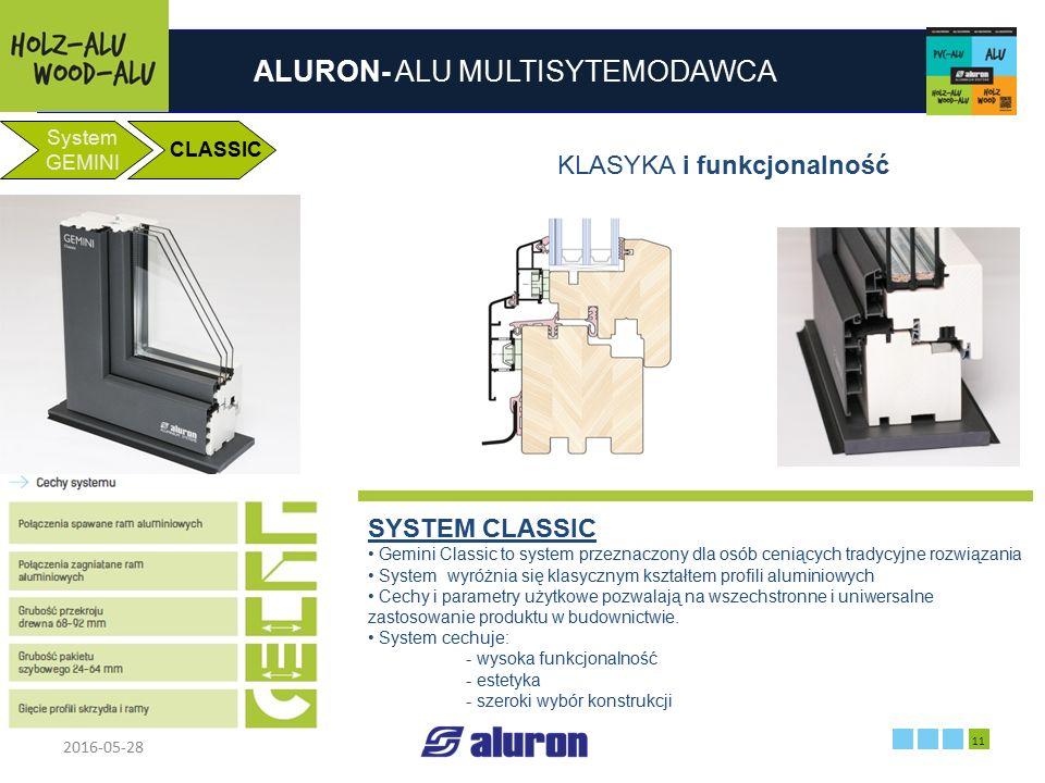 ALURON- ALU MULTISYTEMODAWCA 2016-05-28 11 Zakład produkcyjny w Zawierciu Francja System GEMINI CLASSIC KLASYKA i funkcjonalność SYSTEM CLASSIC Gemini