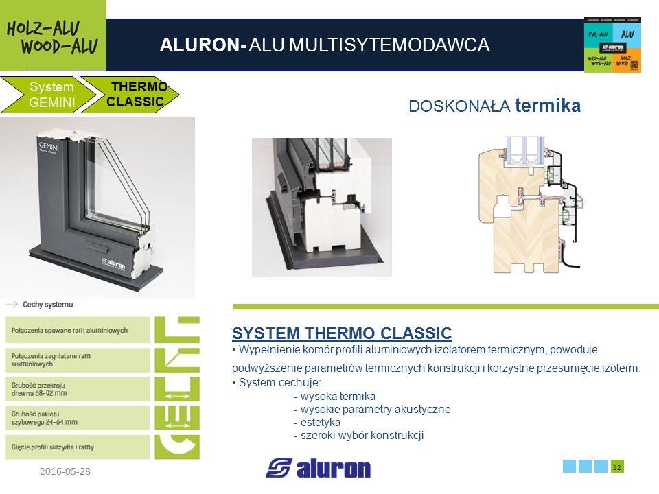ALURON- ALU MULTISYTEMODAWCA 2016-05-28 12 Zakład produkcyjny w Zawierciu Francja System GEMINI THERMO CLASSIC DOSKONAŁA termika SYSTEM THERMO CLASSIC