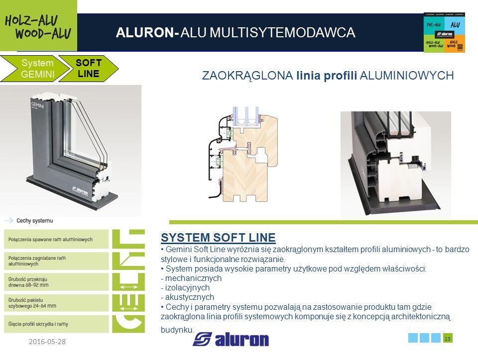 ALURON- ALU MULTISYTEMODAWCA 2016-05-28 13 Zakład produkcyjny w Zawierciu Francja System GEMINI SOFT LINE ZAOKRĄGLONA linia profili ALUMINIOWYCH SYSTE