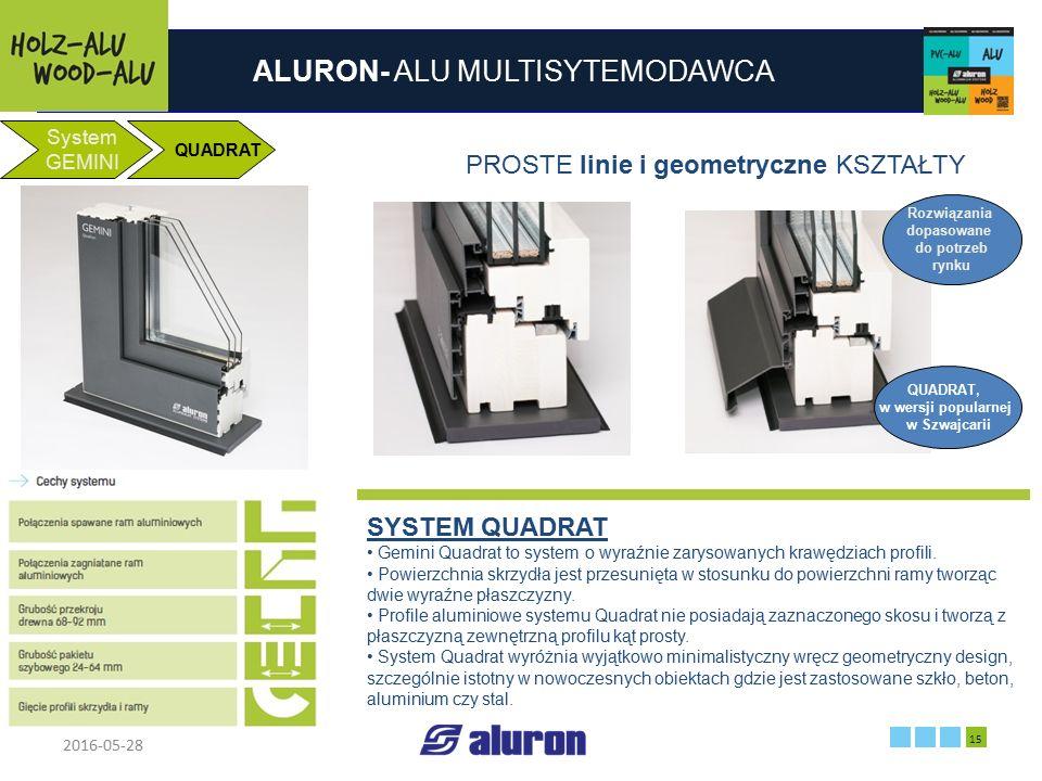 ALURON- ALU MULTISYTEMODAWCA 2016-05-28 15 Zakład produkcyjny w Zawierciu Francja System GEMINI QUADRAT PROSTE linie i geometryczne KSZTAŁTY SYSTEM QU