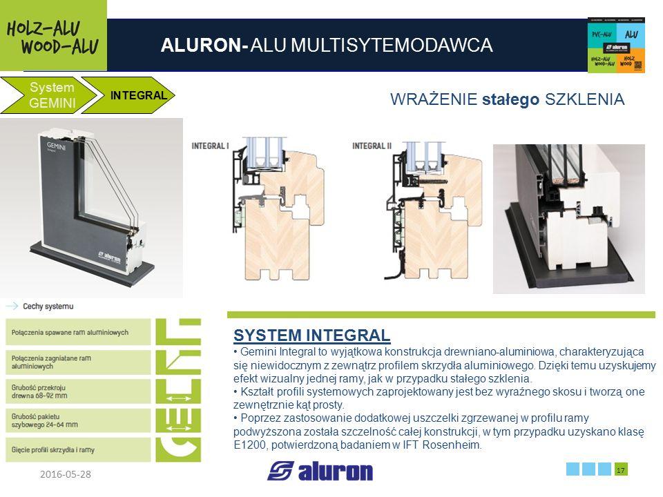 ALURON- ALU MULTISYTEMODAWCA 2016-05-28 17 Zakład produkcyjny w Zawierciu Francja System GEMINI INTEGRAL WRAŻENIE stałego SZKLENIA SYSTEM INTEGRAL Gem