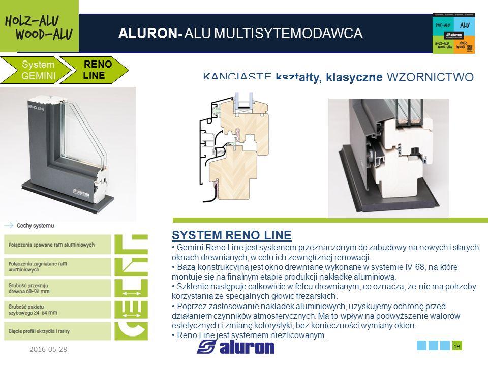 ALURON- ALU MULTISYTEMODAWCA 2016-05-28 19 Zakład produkcyjny w Zawierciu Francja System GEMINI RENO LINE KANCIASTE kształty, klasyczne WZORNICTWO SYS