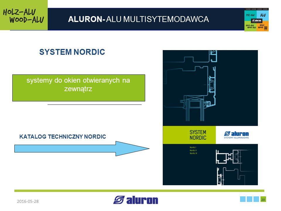 ALURON- ALU MULTISYTEMODAWCA 2016-05-28 20 Zakład produkcyjny w Zawierciu Francja SYSTEM NORDIC systemy do okien otwieranych na zewnątrz KATALOG TECHN