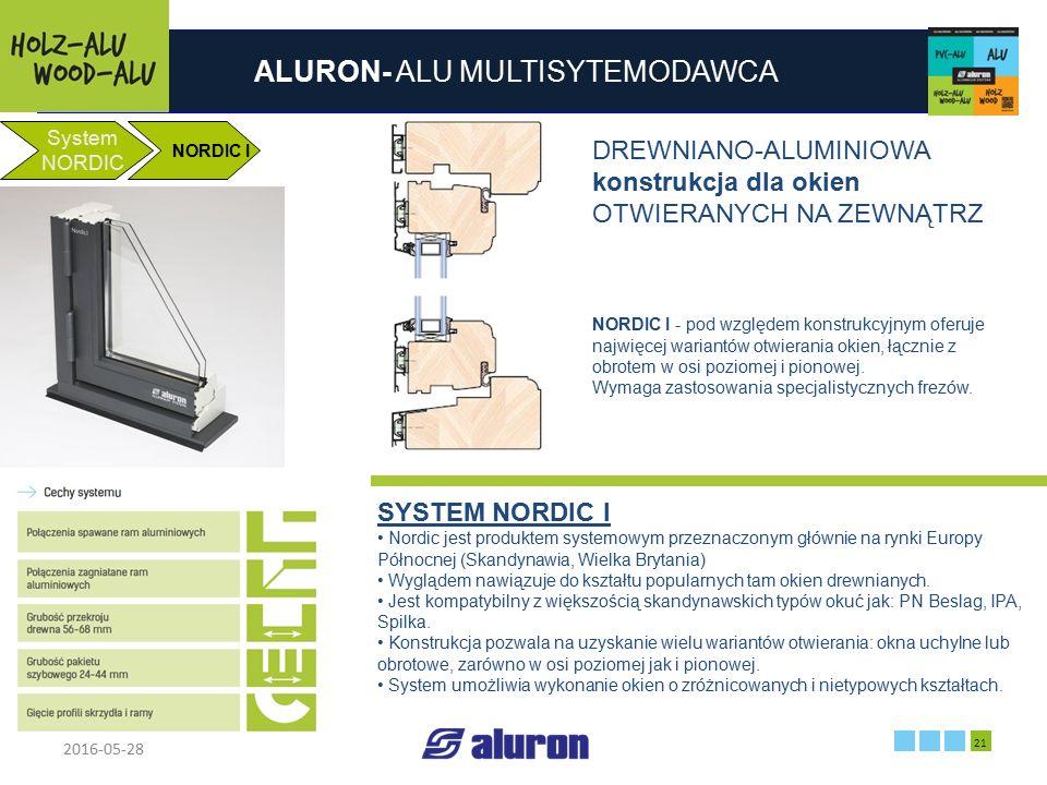 ALURON- ALU MULTISYTEMODAWCA 2016-05-28 21 Zakład produkcyjny w Zawierciu Francja System NORDIC NORDIC I DREWNIANO-ALUMINIOWA konstrukcja dla okien OT