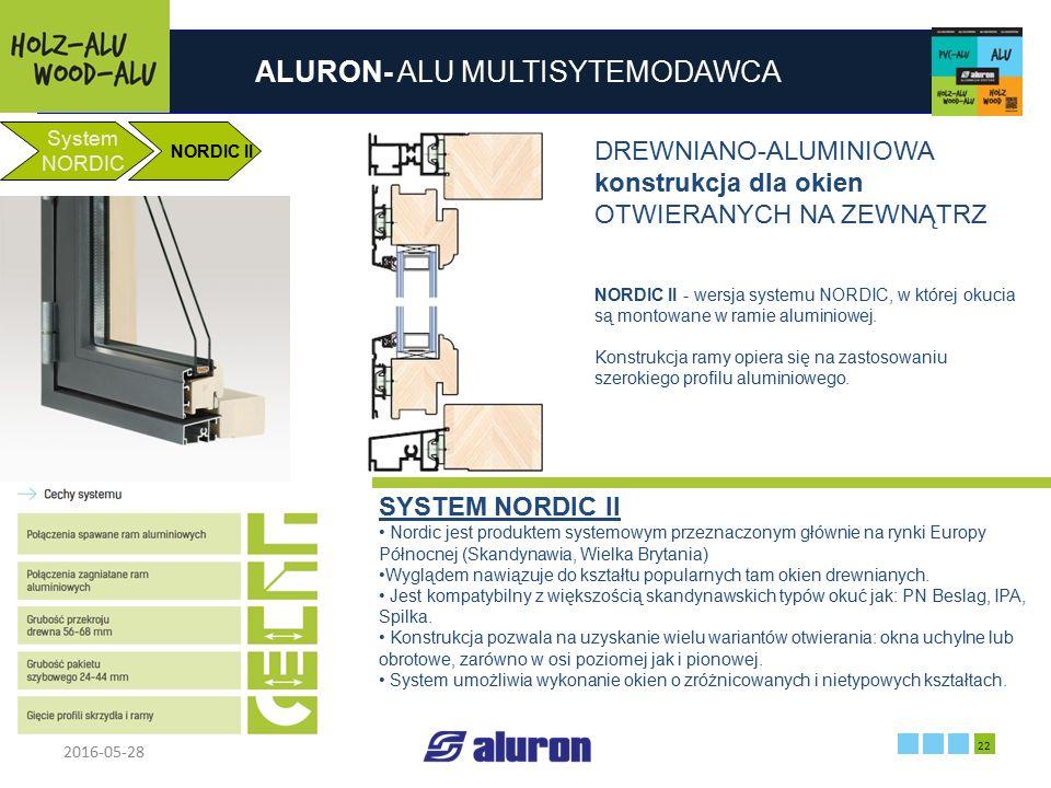 ALURON- ALU MULTISYTEMODAWCA 2016-05-28 22 Zakład produkcyjny w Zawierciu Francja System NORDIC NORDIC II DREWNIANO-ALUMINIOWA konstrukcja dla okien O