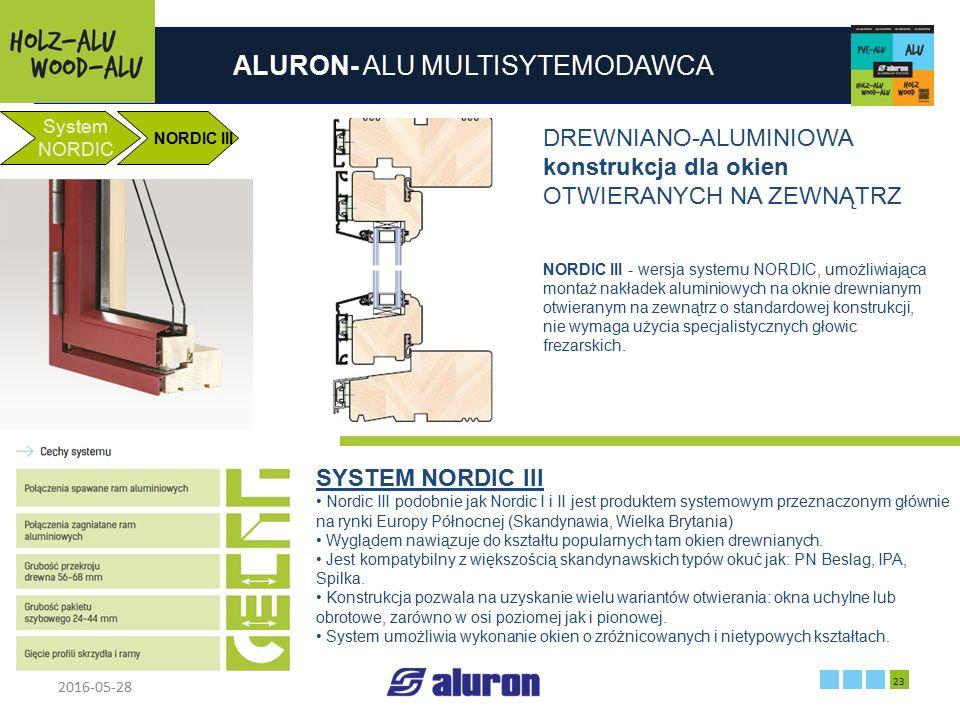 ALURON- ALU MULTISYTEMODAWCA 2016-05-28 23 Zakład produkcyjny w Zawierciu Francja System NORDIC NORDIC III DREWNIANO-ALUMINIOWA konstrukcja dla okien