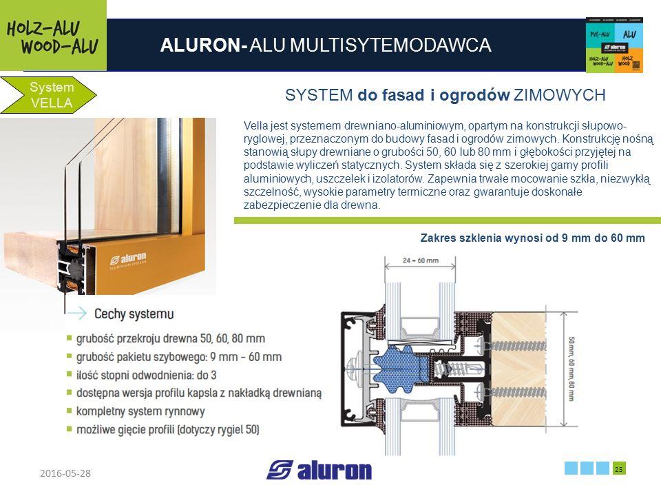 ALURON- ALU MULTISYTEMODAWCA 2016-05-28 25 Zakład produkcyjny w Zawierciu Francja System VELLA SYSTEM do fasad i ogrodów ZIMOWYCH Vella jest systemem