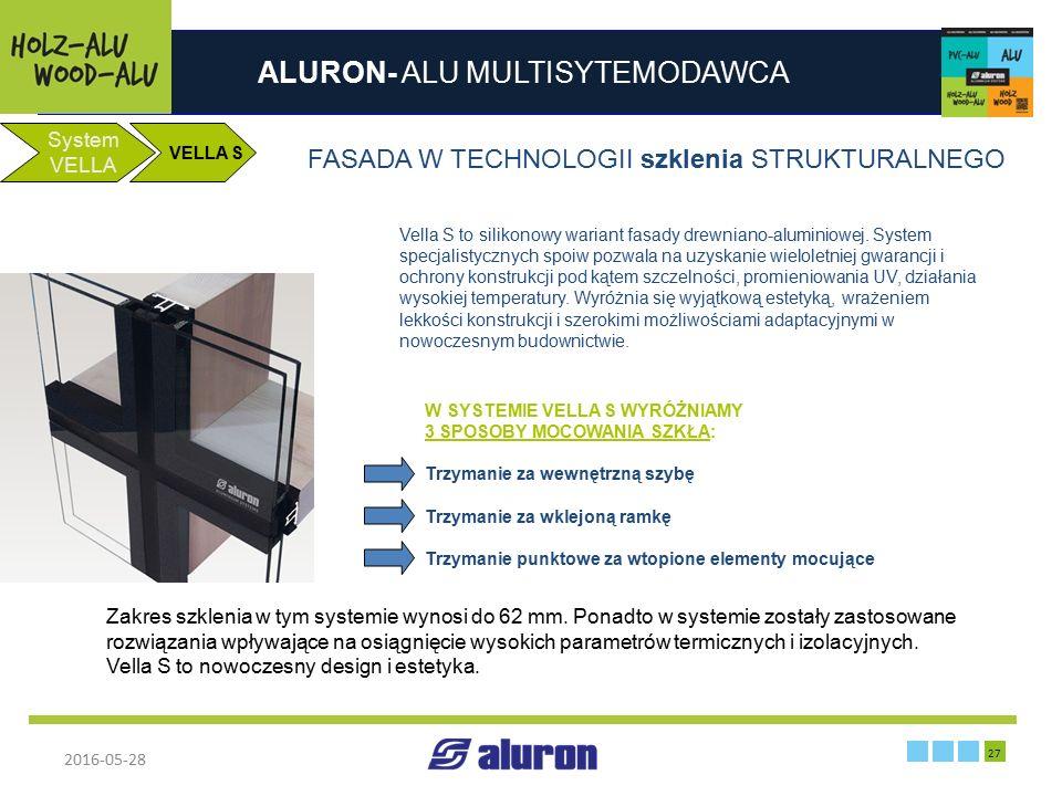ALURON- ALU MULTISYTEMODAWCA 2016-05-28 27 Zakład produkcyjny w Zawierciu System VELLA FASADA W TECHNOLOGII szklenia STRUKTURALNEGO Vella S to silikon