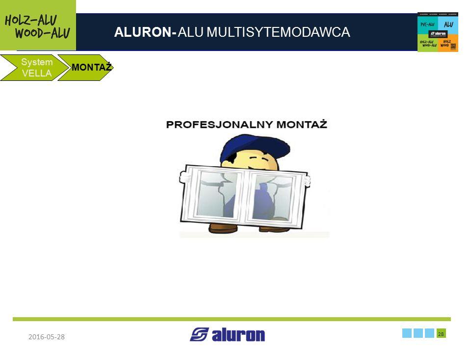 ALURON- ALU MULTISYTEMODAWCA 2016-05-28 28 Zakład produkcyjny w Zawierciu System VELLA MONTAŻ