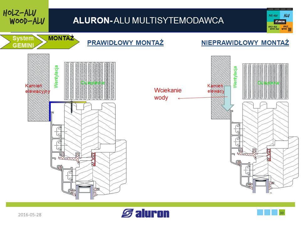 ALURON- ALU MULTISYTEMODAWCA 2016-05-28 30 Zakład produkcyjny w Zawierciu Francja System GEMINI MONTAŻ PRAWIDŁOWY MONTAŻ NIEPRAWIDŁOWY MONTAŻ