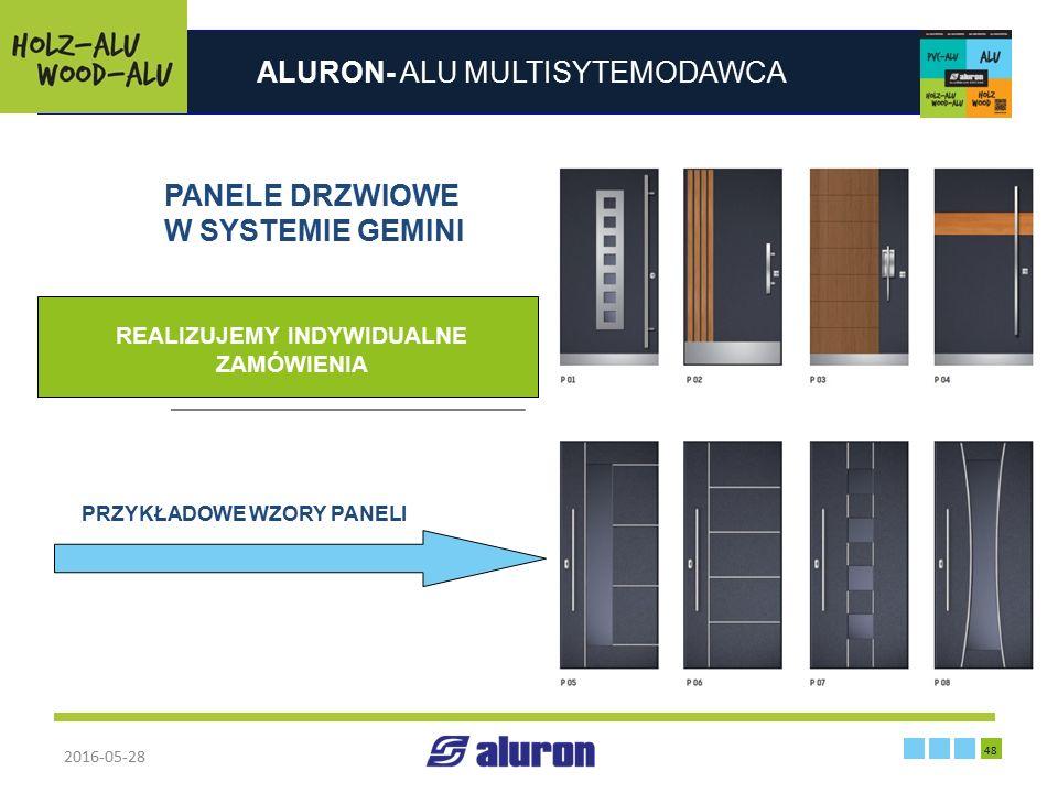 ALURON- ALU MULTISYTEMODAWCA 2016-05-28 48 Zakład produkcyjny w Zawierciu Francja PANELE DRZWIOWE W SYSTEMIE GEMINI PRZYKŁADOWE WZORY PANELI REALIZUJE