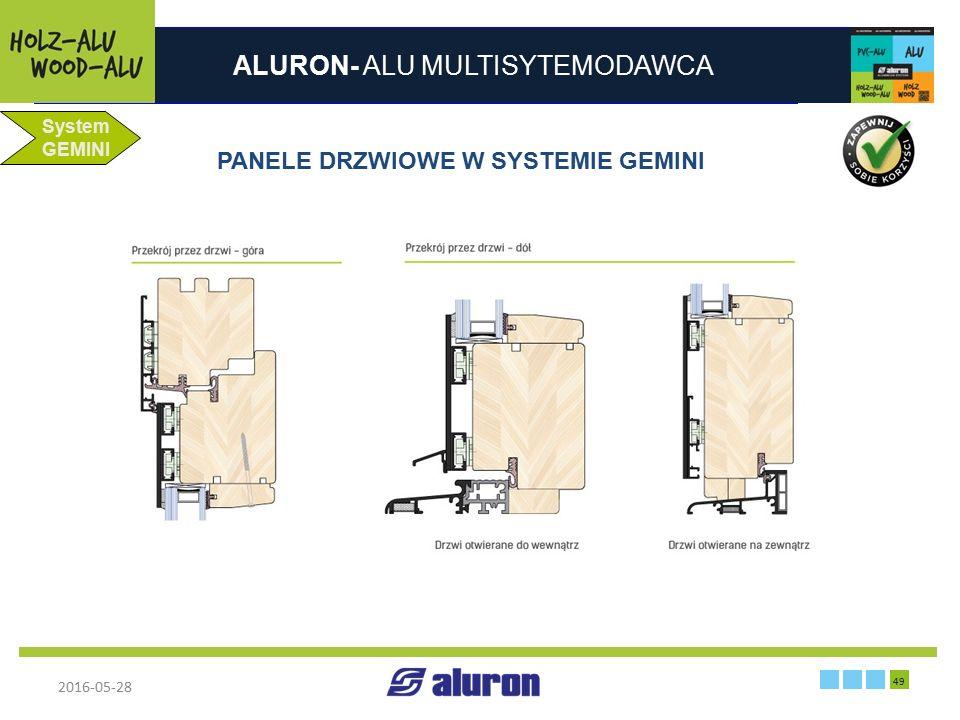 ALURON- ALU MULTISYTEMODAWCA 2016-05-28 49 Francja System GEMINI PANELE DRZWIOWE W SYSTEMIE GEMINI