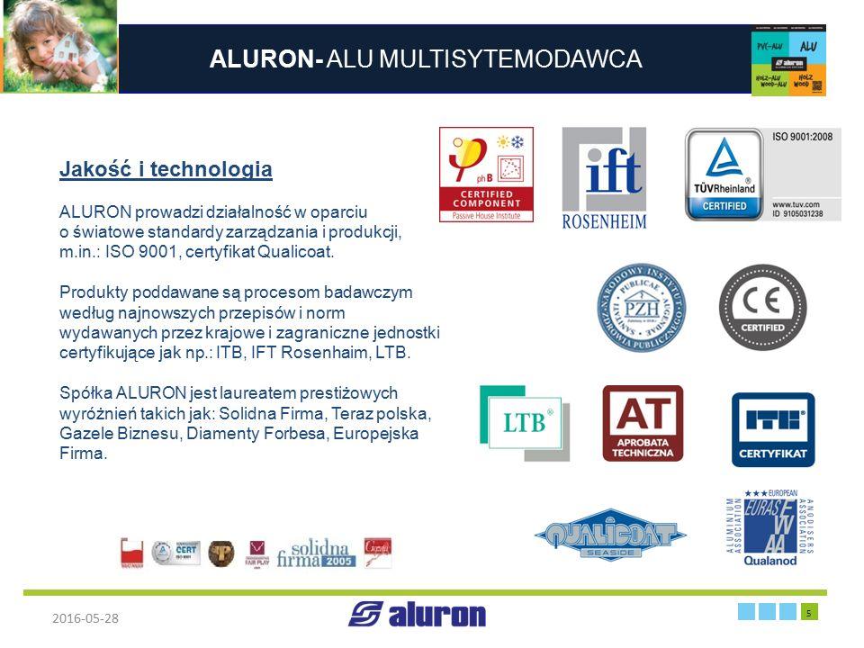 ALURON- ALU MULTISYTEMODAWCA 2016-05-28 5 Zakład produkcyjny w Zawierciu Jakość i technologia ALURON prowadzi działalność w oparciu o światowe standar