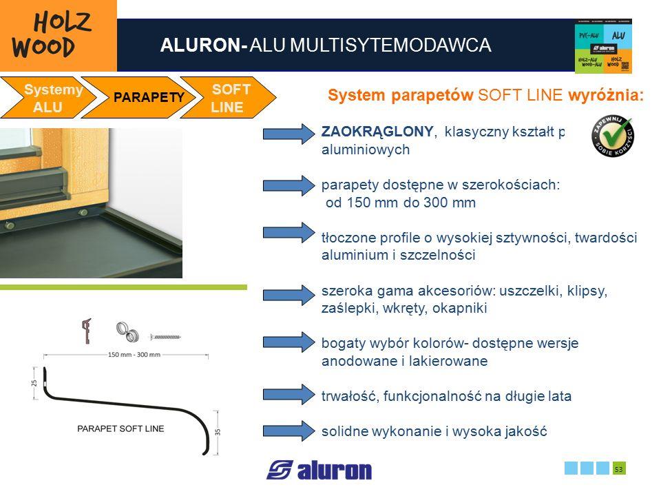 ALURON- ALU MULTISYTEMODAWCA 2016-05-28 53 Zakład produkcyjny w Zawierciu Francja Systemy ALU PARAPETY SOFT LINE System parapetów SOFT LINE wyróżnia: