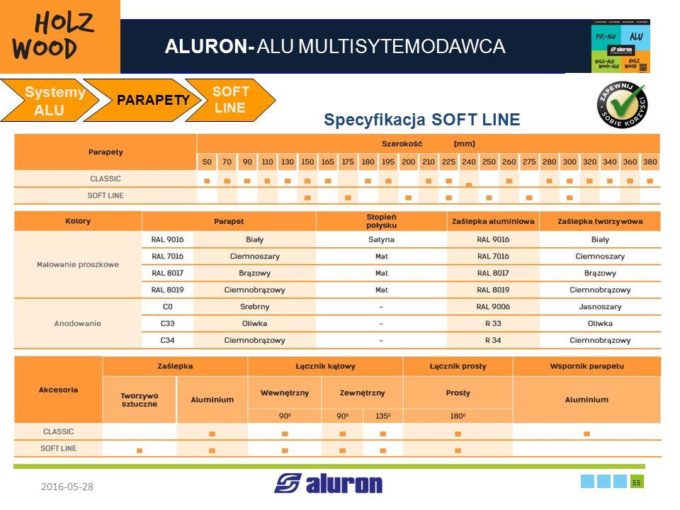 ALURON- ALU MULTISYTEMODAWCA 2016-05-28 55 Zakład produkcyjny w Zawierciu Francja Systemy ALU PARAPETY Specyfikacja SOFT LINE SOFT LINE