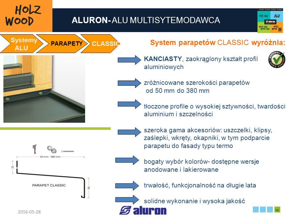 ALURON- ALU MULTISYTEMODAWCA 2016-05-28 56 Zakład produkcyjny w Zawierciu Francja Systemy ALU PARAPETY CLASSIC System parapetów CLASSIC wyróżnia: KANC