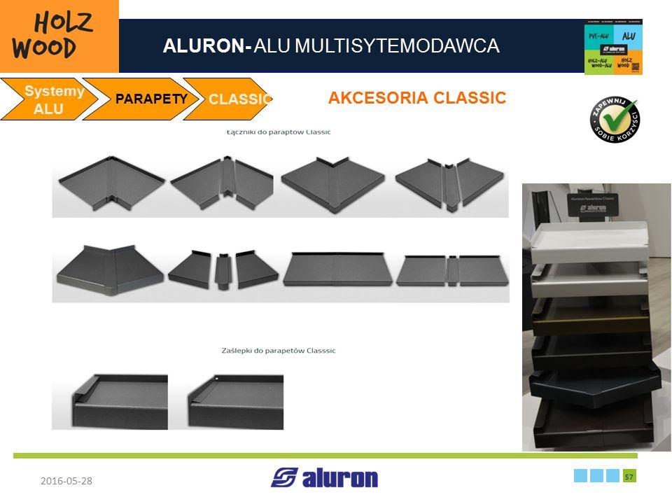 ALURON- ALU MULTISYTEMODAWCA 2016-05-28 57 Zakład produkcyjny w Zawierciu Francja Systemy ALU PARAPETY CLASSIC AKCESORIA CLASSIC