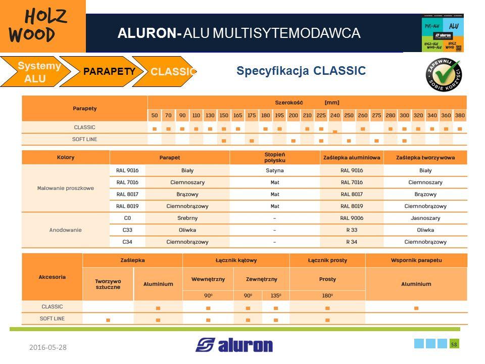 ALURON- ALU MULTISYTEMODAWCA 2016-05-28 58 Zakład produkcyjny w Zawierciu Francja Systemy ALU PARAPETY CLASSIC Specyfikacja CLASSIC
