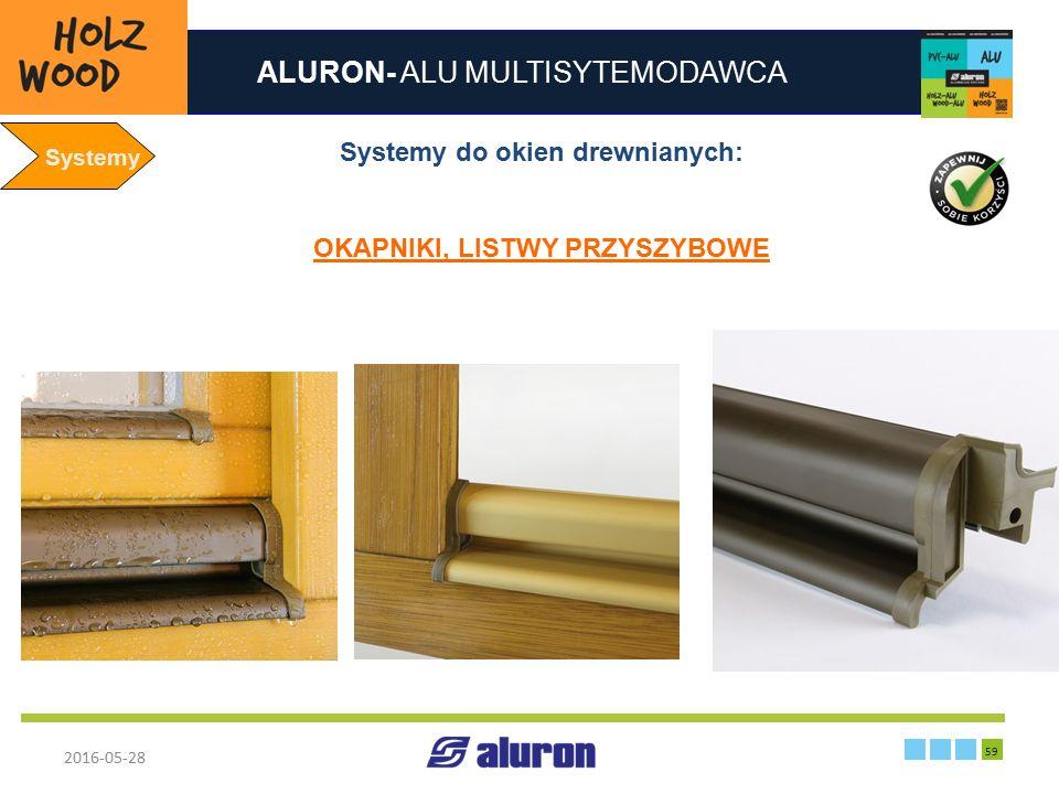 ALURON- ALU MULTISYTEMODAWCA 2016-05-28 59 Zakład produkcyjny w Zawierciu Francja Systemy Systemy do okien drewnianych: OKAPNIKI, LISTWY PRZYSZYBOWE