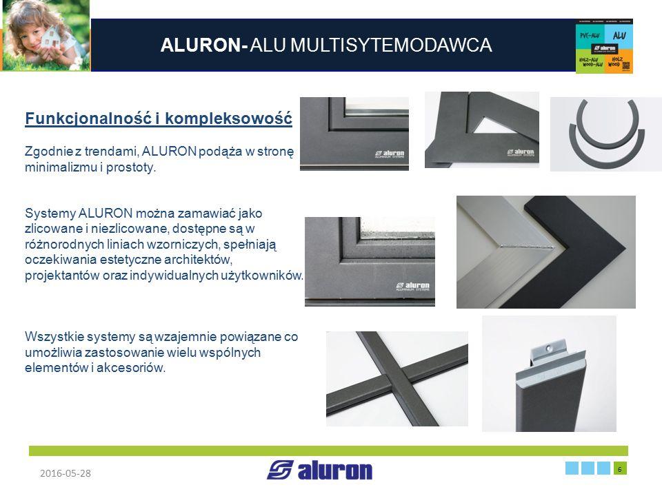 ALURON- ALU MULTISYTEMODAWCA 2016-05-28 6 Zakład produkcyjny w Zawierciu Funkcjonalność i kompleksowość Zgodnie z trendami, ALURON podąża w stronę min