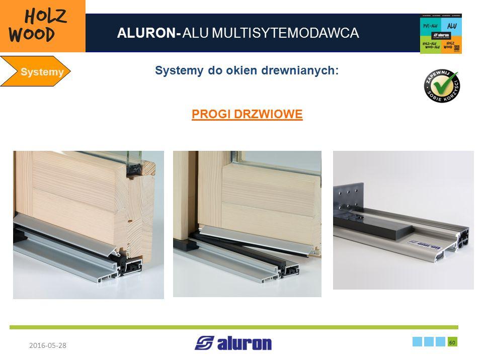 ALURON- ALU MULTISYTEMODAWCA 2016-05-28 60 Zakład produkcyjny w Zawierciu Francja Systemy Systemy do okien drewnianych: PROGI DRZWIOWE