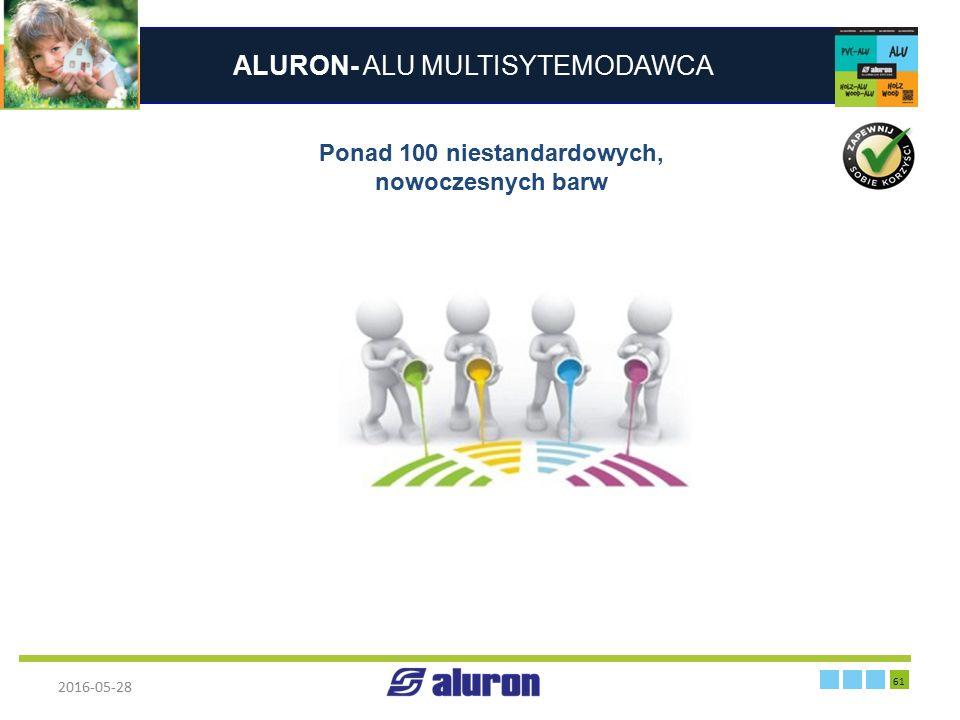 ALURON- ALU MULTISYTEMODAWCA 2016-05-28 61 Zakład produkcyjny w Zawierciu Francja Ponad 100 niestandardowych, nowoczesnych barw