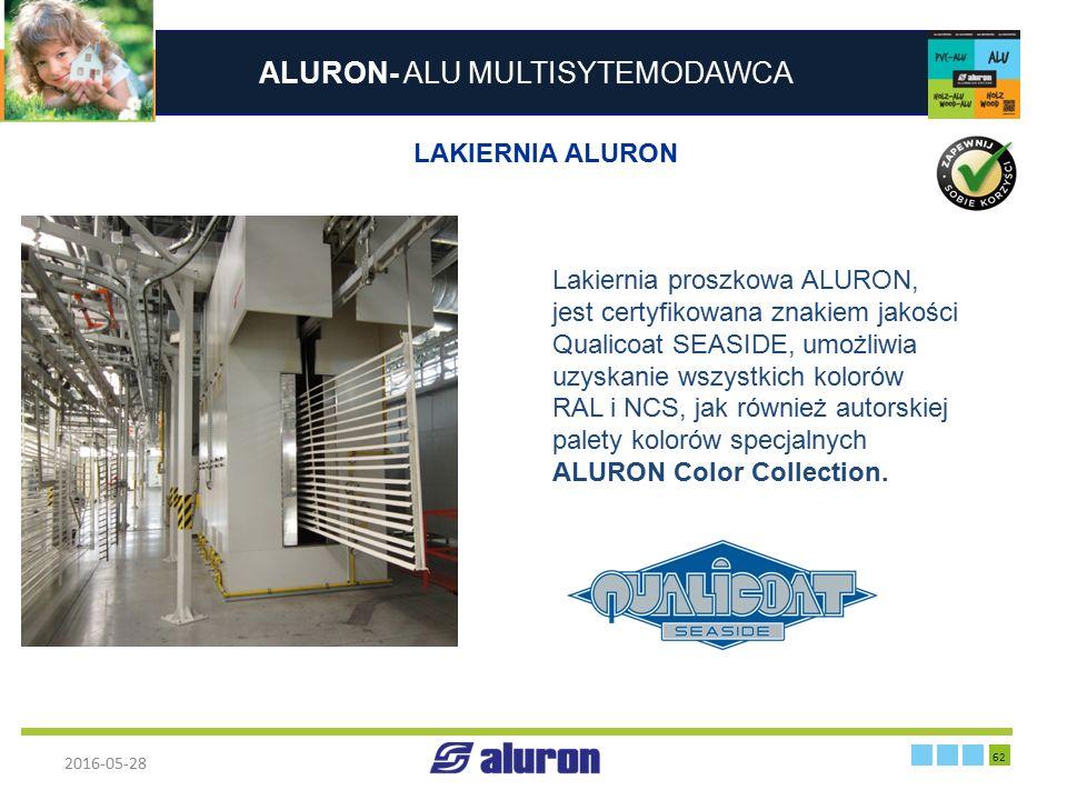 ALURON- ALU MULTISYTEMODAWCA 2016-05-28 62 Zakład produkcyjny w Zawierciu Francja LAKIERNIA ALURON Lakiernia proszkowa ALURON, jest certyfikowana znak