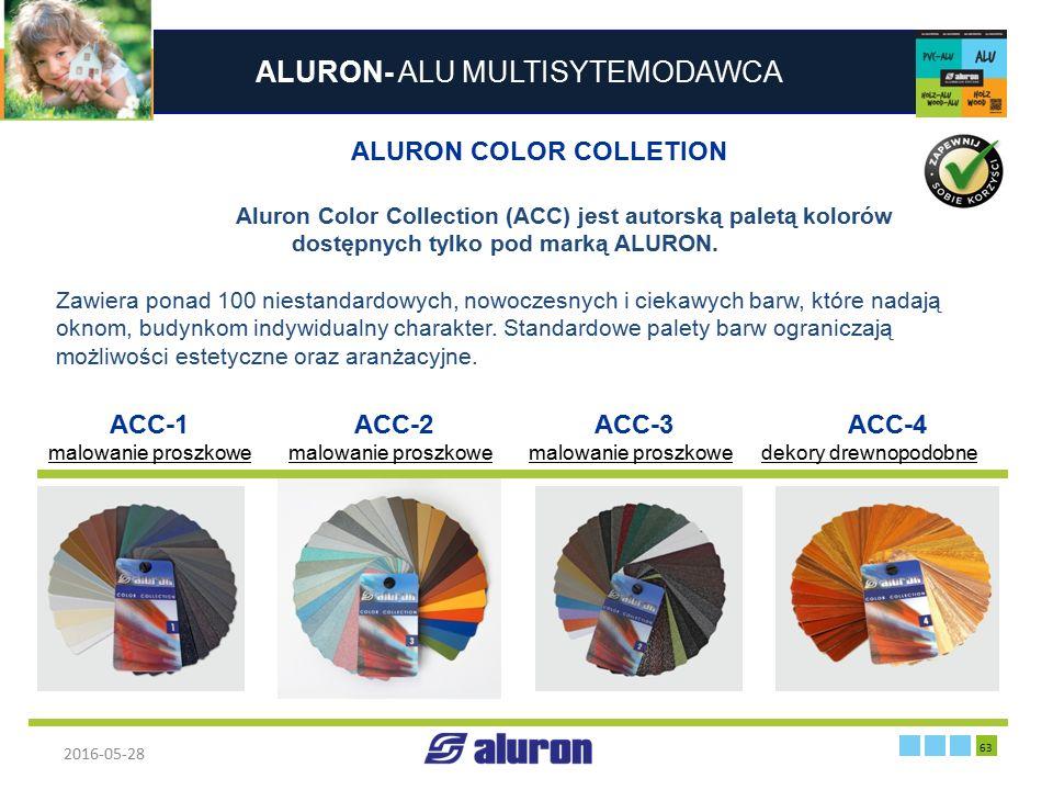 ALURON- ALU MULTISYTEMODAWCA 2016-05-28 63 Zakład produkcyjny w Zawierciu Francja ALURON COLOR COLLETION Aluron Color Collection (ACC) jest autorską p