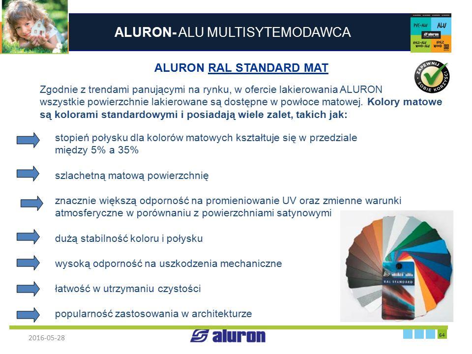 ALURON- ALU MULTISYTEMODAWCA 2016-05-28 64 Zakład produkcyjny w Zawierciu Francja ALURON RAL STANDARD MAT Zgodnie z trendami panującymi na rynku, w of