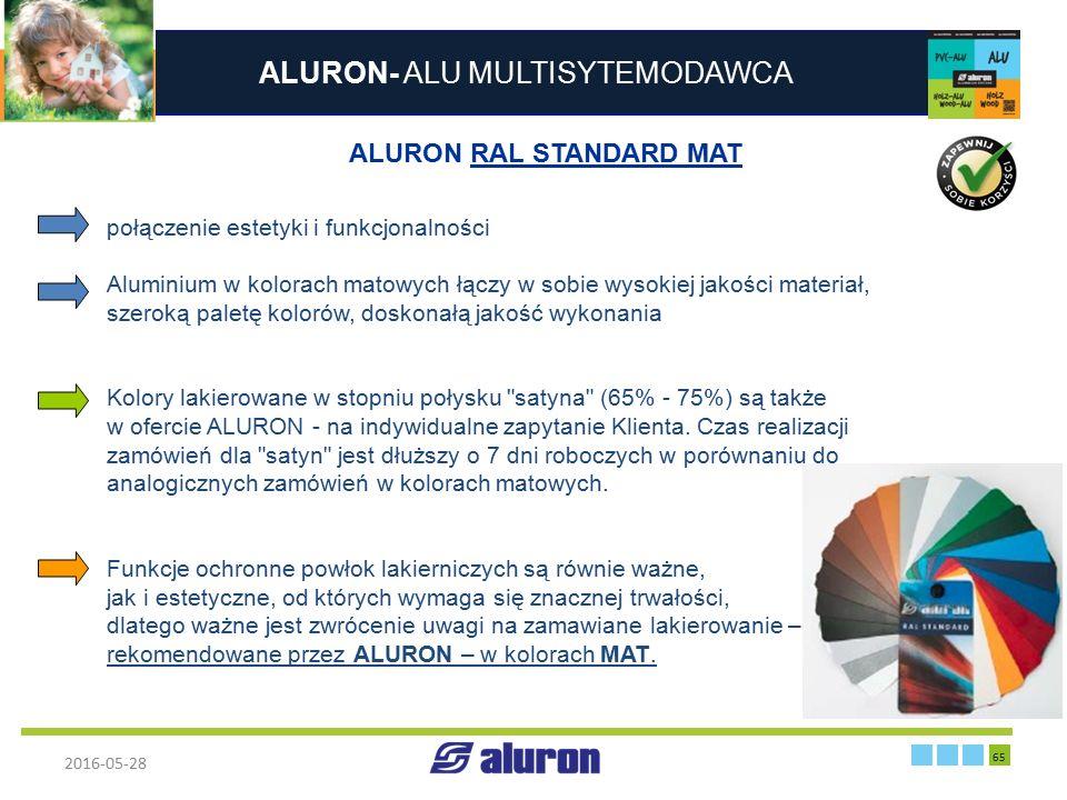 ALURON- ALU MULTISYTEMODAWCA 2016-05-28 65 Zakład produkcyjny w Zawierciu Francja ALURON RAL STANDARD MAT połączenie estetyki i funkcjonalności Alumin