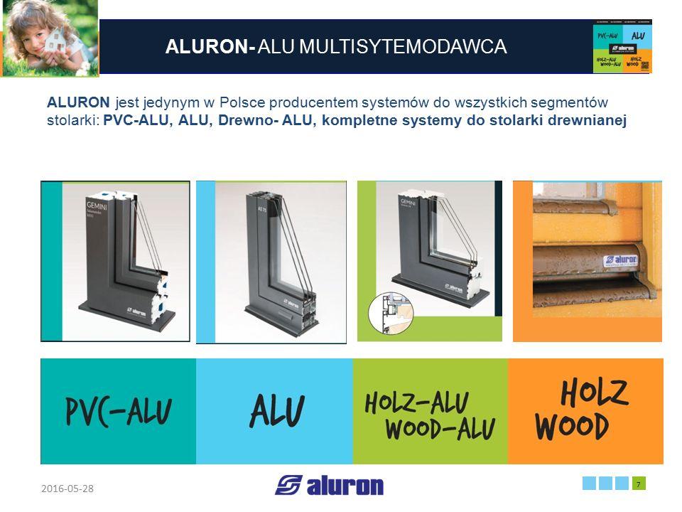 ALURON- ALU MULTISYTEMODAWCA 2016-05-28 7 Zakład produkcyjny w Zawierciu Francja ALURON jest jedynym w Polsce producentem systemów do wszystkich segme