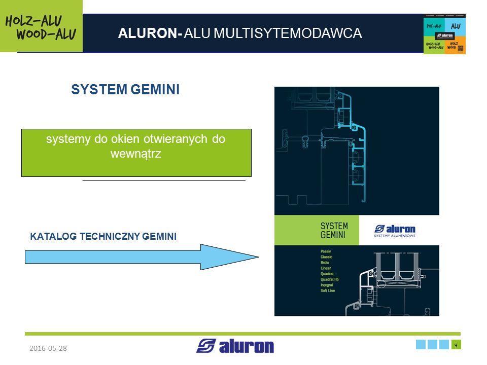 ALURON- ALU MULTISYTEMODAWCA 2016-05-28 9 Zakład produkcyjny w Zawierciu Francja SYSTEM GEMINI systemy do okien otwieranych do wewnątrz KATALOG TECHNI