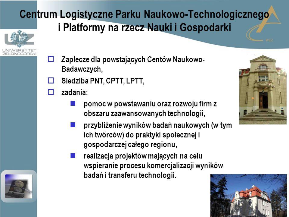 Centrum Logistyczne Parku Naukowo-Technologicznego i Platformy na rzecz Nauki i Gospodarki  Zaplecze dla powstających Centów Naukowo- Badawczych,  Siedziba PNT, CPTT, LPTT,  zadania: pomoc w powstawaniu oraz rozwoju firm z obszaru zaawansowanych technologii, przybliżenie wyników badań naukowych (w tym ich twórców) do praktyki społecznej i gospodarczej całego regionu, realizacja projektów mających na celu wspieranie procesu komercjalizacji wyników badań i transferu technologii.