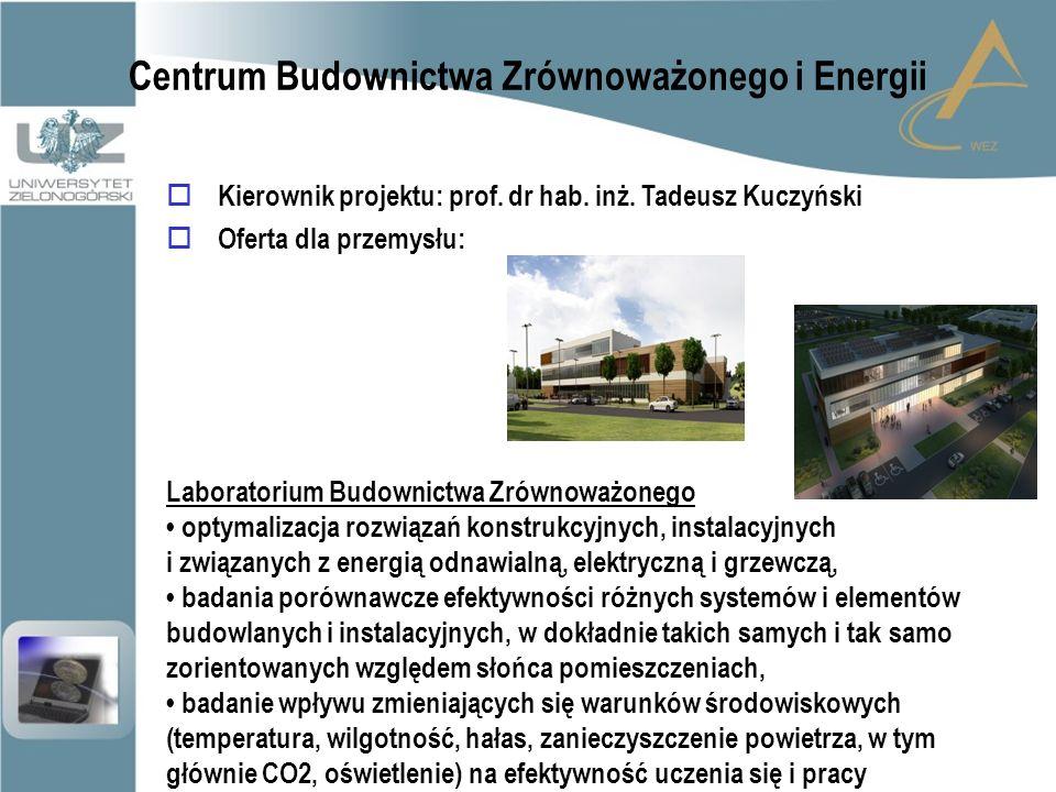 Centrum Budownictwa Zrównoważonego i Energii  Kierownik projektu: prof.