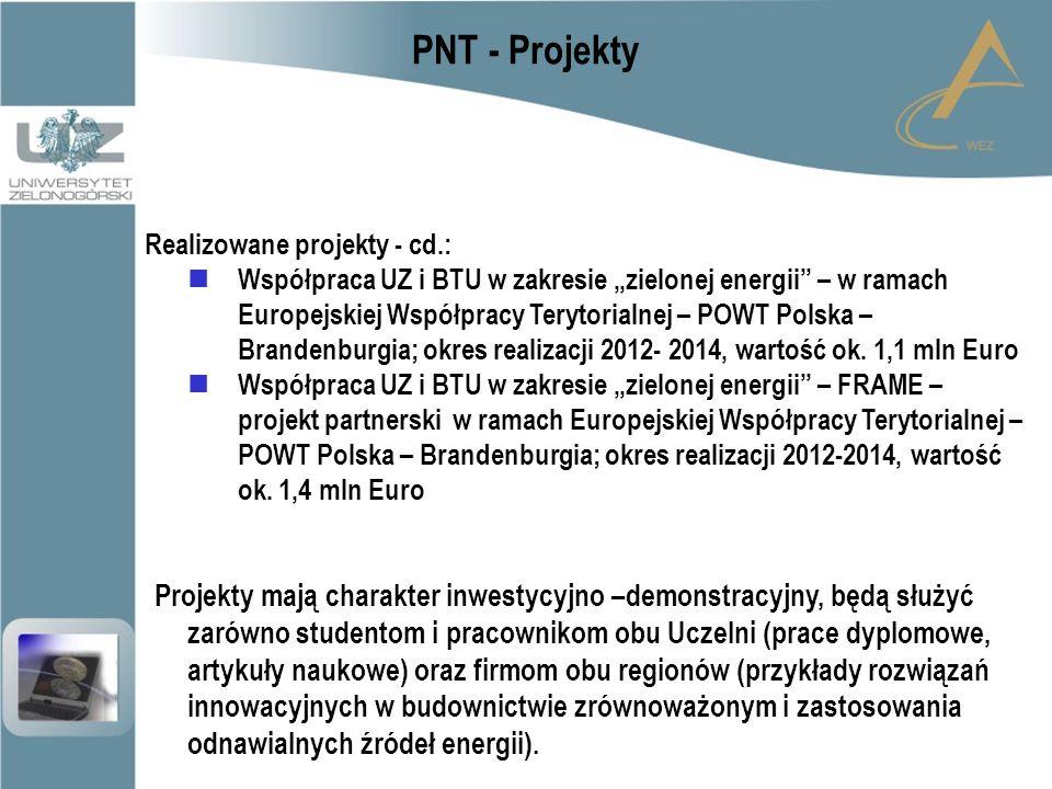 """PNT - Projekty Realizowane projekty - cd.: Współpraca UZ i BTU w zakresie """"zielonej energii – w ramach Europejskiej Współpracy Terytorialnej – POWT Polska – Brandenburgia; okres realizacji 2012- 2014, wartość ok."""