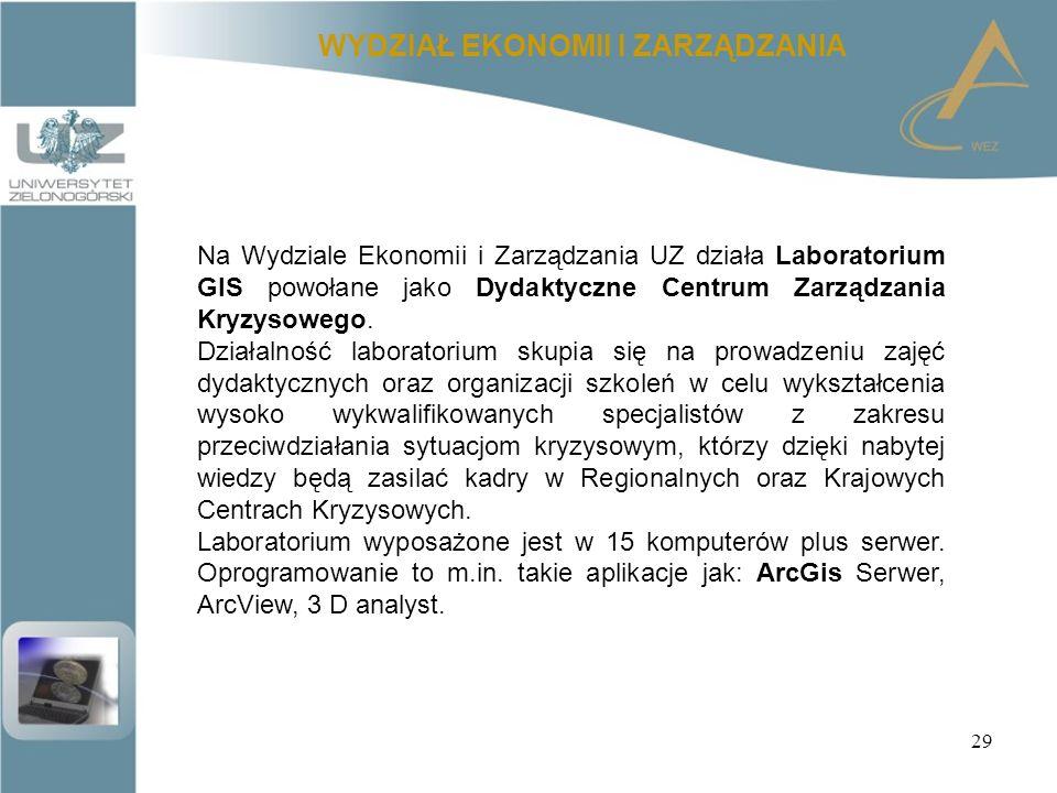 29 WYDZIAŁ EKONOMII I ZARZĄDZANIA Na Wydziale Ekonomii i Zarządzania UZ działa Laboratorium GIS powołane jako Dydaktyczne Centrum Zarządzania Kryzysowego.