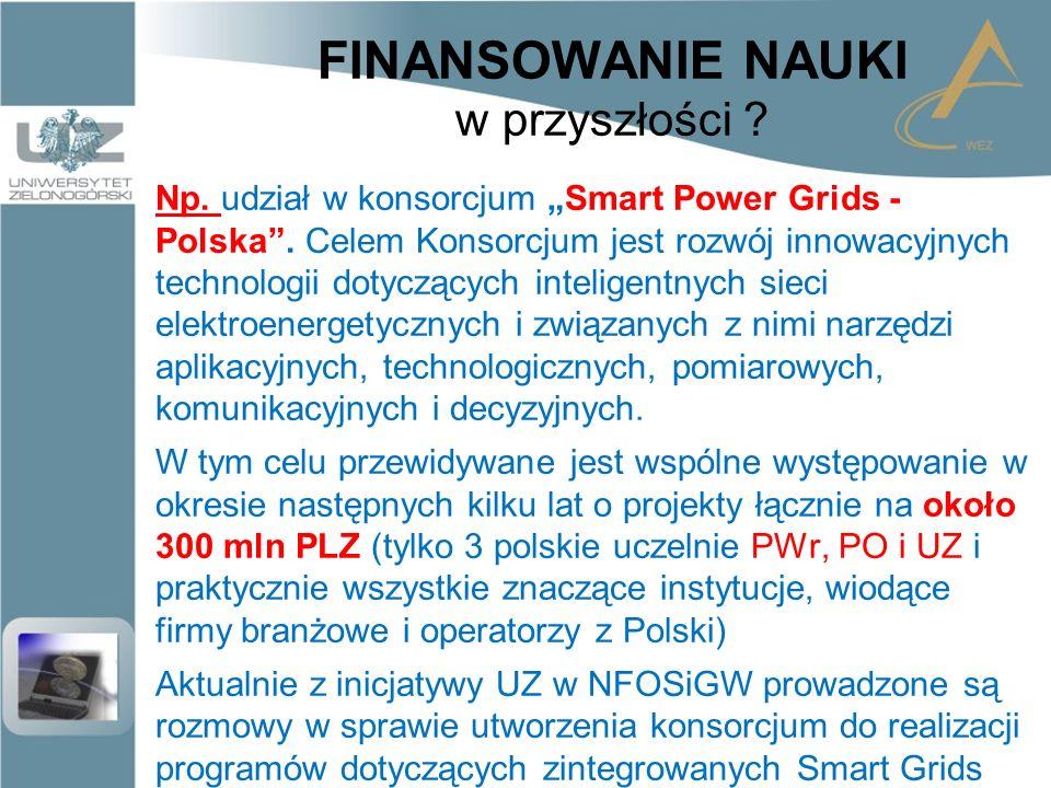 """FINANSOWANIE NAUKI w przyszłości . Np. udział w konsorcjum """"Smart Power Grids - Polska ."""