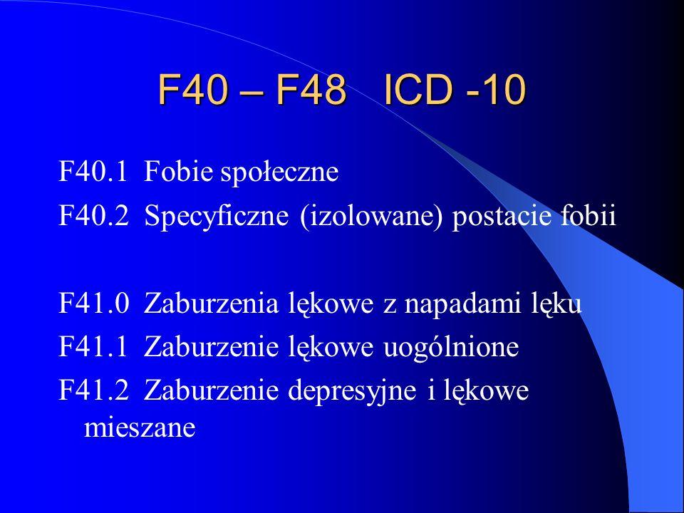 F40 – F48 ICD -10 F40.1 Fobie społeczne F40.2 Specyficzne (izolowane) postacie fobii F41.0 Zaburzenia lękowe z napadami lęku F41.1 Zaburzenie lękowe uogólnione F41.2 Zaburzenie depresyjne i lękowe mieszane