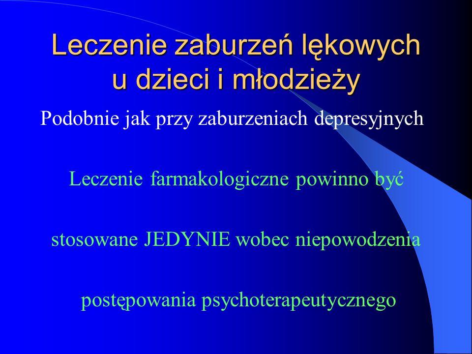Leczenie zaburzeń lękowych u dzieci i młodzieży Podobnie jak przy zaburzeniach depresyjnych Leczenie farmakologiczne powinno być stosowane JEDYNIE wobec niepowodzenia postępowania psychoterapeutycznego