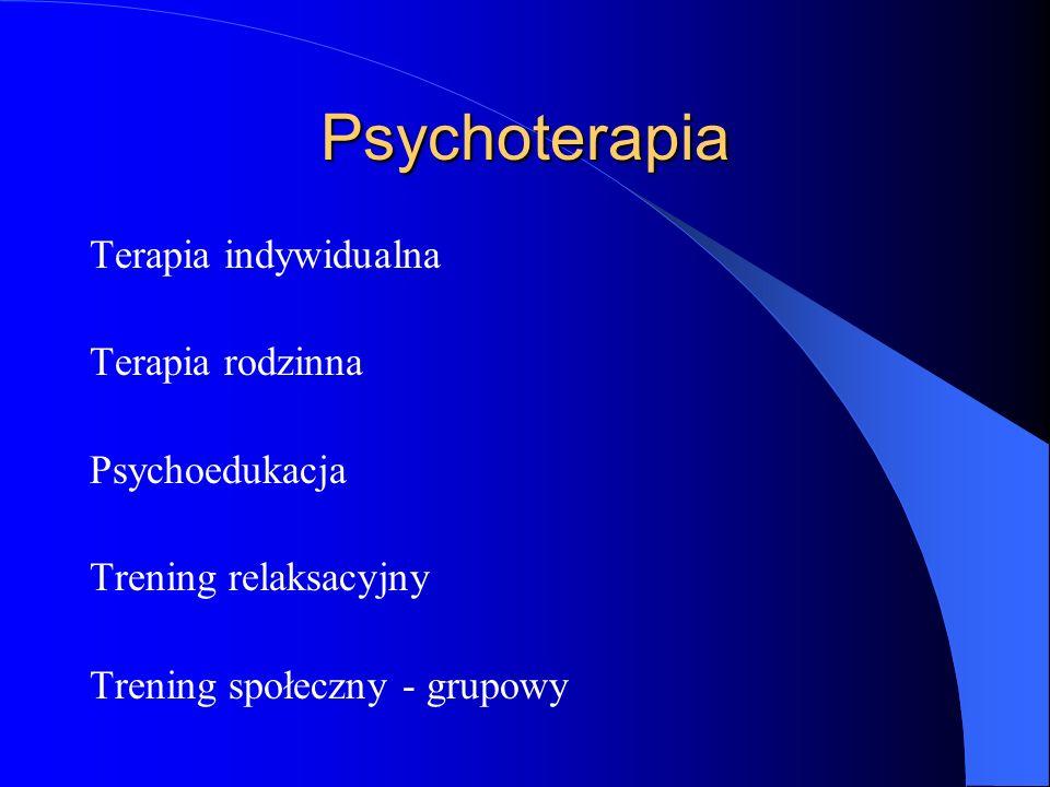 Psychoterapia Terapia indywidualna Terapia rodzinna Psychoedukacja Trening relaksacyjny Trening społeczny - grupowy